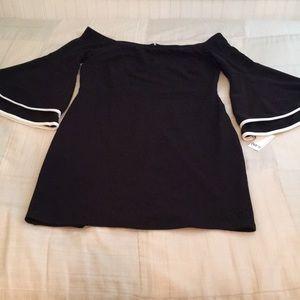 BAR III BLACK BELL SLEEVE DRESS